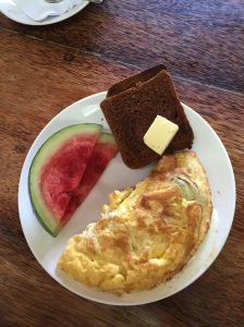 Breakfast at the Kashi Art Cafe- spinach and cheese omelette