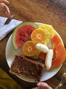 Breakfast at the Kashi Art Cafe- cinnamon breakfast cake
