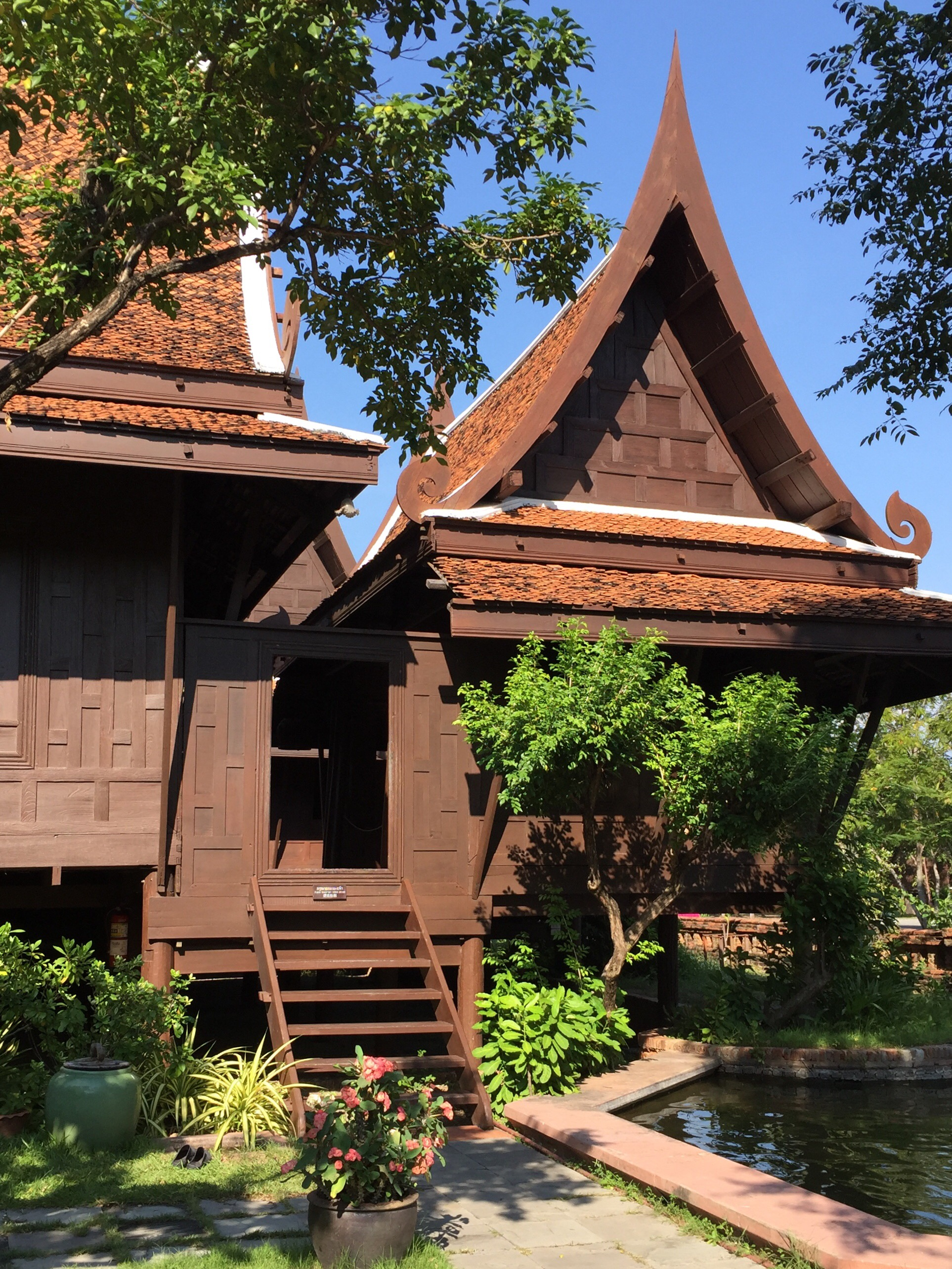 Traditional house on stilts at the Ancient City near Bangkok Thailand