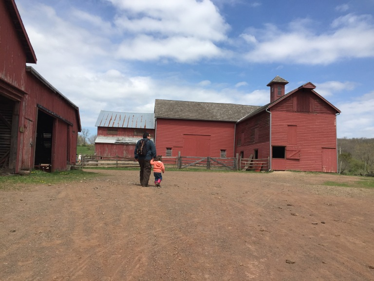Father and child walk by big red barns
