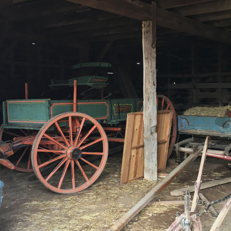 An antique chariot in a barn
