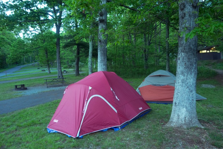 Two tents in campground at the Shenandoah national park