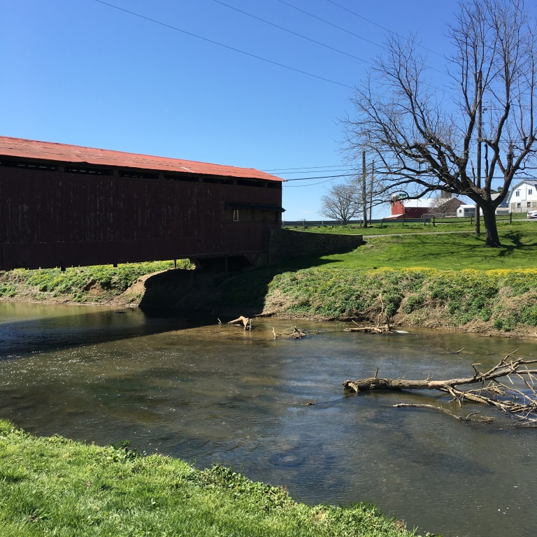 Old covered wooden bridge in Amish country in Pennsylvania