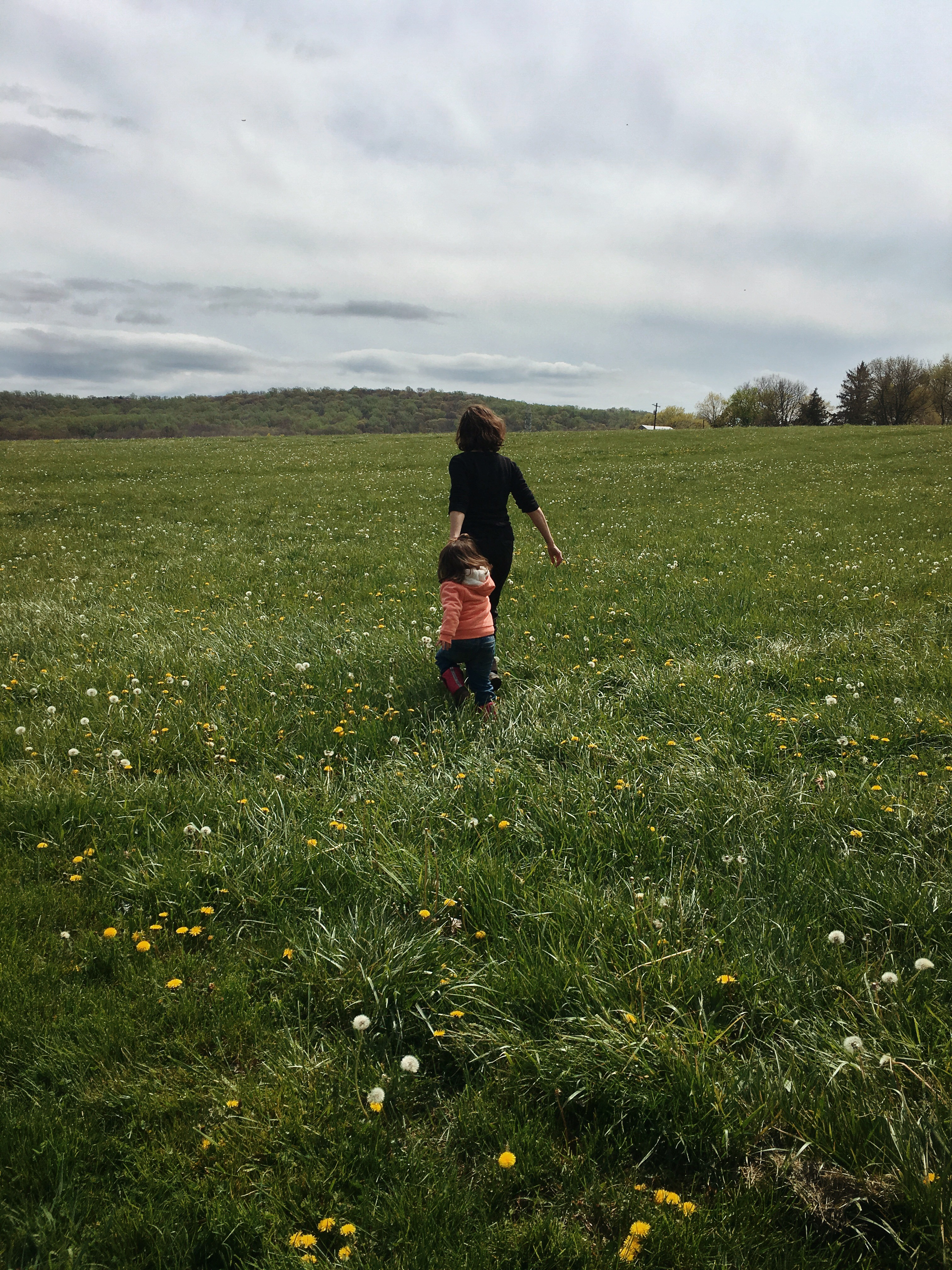 Mother and daughter walking on a meadow with flowers